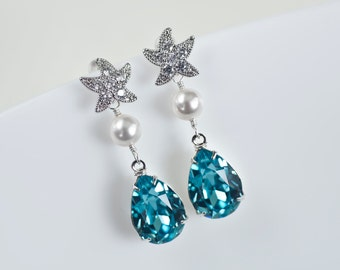 Starfish - Cubic Zirconia Starfish Earrings and Turquoise Swarovski Crystal Teardrop, Bridal, Bridesmaids Earrings, Beach Wedding Earrings