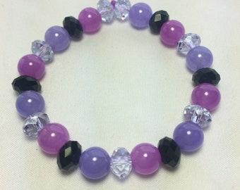 Purple & Black Beaded stretch Bracelet, purple bracelet, purple black bracelet, purple gift, gift, colorful