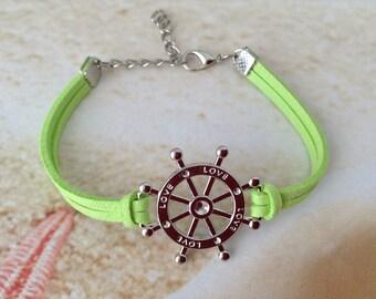 Nautical Ships Wheel Silver Plated Charm Green Velvet Cord Friendship Beach Bracelet Jewellery