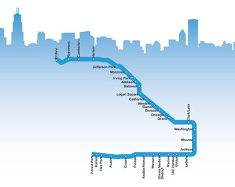 Chicago Blue Line Map