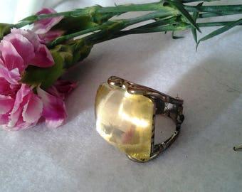 VIntage Boho Citrine Glass Statement Ring
