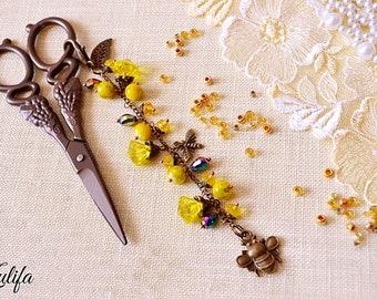 Scissor Fob yellow bee Handmade Scissor Fob Cross Stitch Sewing Fob Scissor Key Fob Sewing Accessory Needlepoint Planner fob