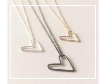 Rose gold heart necklace, Gold heart jewelry, Silver heart necklace, Heart necklace, Everyday jewelry, Rose gold minimal jewelry, Mom gift