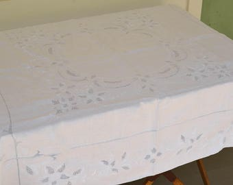 "White Lace Tablecloth, Vintage White Table Topper, White and Ice Blue, Size 49"" Square, Vintage Table Linens"
