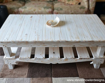 White Nautical Reclaimed Wood Coffee Table in Coastal