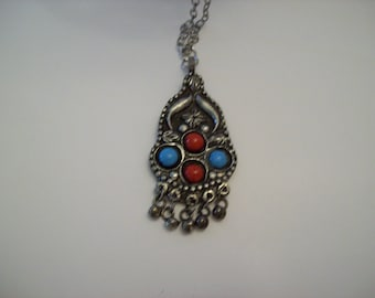 Southwestern Necklace Darkened Silver Color w/Turquoise & Red Stone Decoration Nichol Free Chain 29 Inch Chain