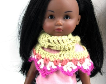 NEW doll crochet pattern: Open spaces Cheries shawl, DIY crochet this lacy shawl for Les Cheries dolls by Corolle & other 13 inches dolls