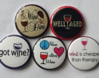 Adult Wine, 1 Inch buttons for bows, crafts, gifts, accessorizing, party favors, scrapbooking
