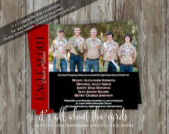 Eagle Scout Court of Honor Invitations-Eagle Wings black/red design-Digital file