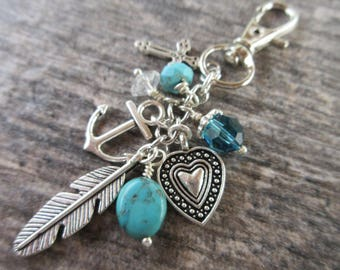 "Boho ""Faith Hope Love"" Clip-On Purse Charm Silver tone charms, crystal & turquoise dangles swivel clasp tote charm, Key fob, bag charm"