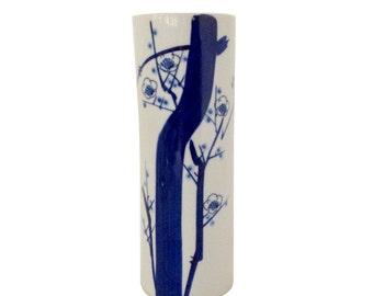Blue and White Chinoiserie Brushstroke Vase