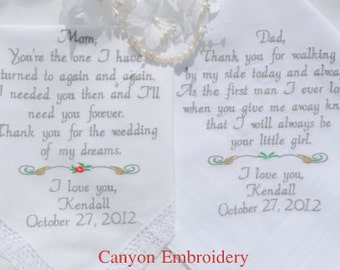 Embroidered Wedding Handkerchiefs, Personalized Wedding Gifts, Wedding Gift for Parents, MOM, DAD, GIFT, Wedding Gifts By Canyon Embroidery
