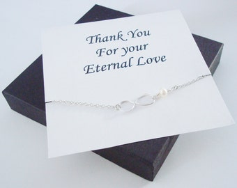 Infinity Charm with White Pearl Silver Bracelet ~~Personalized Jewelry Gift Card for Mom, Best Friend, Sister, Bridal Party, Sister in Law