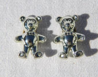 Vtg 80s Silver Tone Teddy Bear Plastic Earrings
