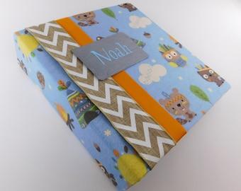 Boy Baby Memory Book Photo album personalized pregnancy journal 4x6 5x7 8x10 Tribal Wilderness Woodland Fox Owl Chevron Baby Book FLANNEL