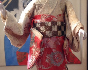 Antique Artisan Japanese Ichimatsu Girl/Geisha Gofun Doll on Stand Glass Eyes Dressed in Traditional Silk Costume Circa 1920
