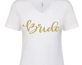 Bride Tribe Tee- Bachelorette Party Bride Squad V Neck Tee