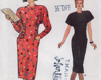 Free Us Ship Sewing Pattern Vogue 9346 Vintage Retro 1980's 80s 1985 Shoulder Pad Dolman Sleeve Dress Size 12 14 16 Bust 34 36 38 Uncut