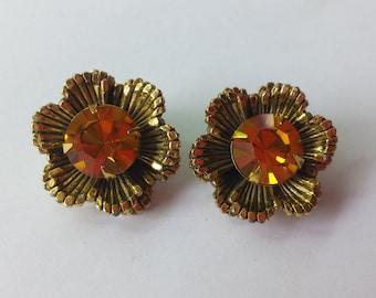 Vintage Topaz Rhinestone Flower Clip Ons