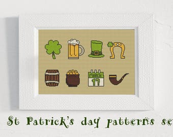 Patrick Day Cross Stitch Pattern Set Modern Easy Beginner Xstitch Irish Lucky Pattern Four Leaf Clover Lucky Horseshoe PDF Instant Download
