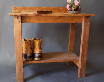 Vintage 1930s Rustic Wooden Entryway Table / Primitive Wood Table