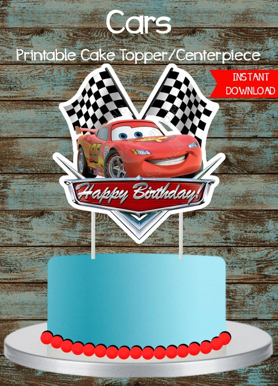 Cars Cake Topper Disney Cars Printable Cake topper Lighting