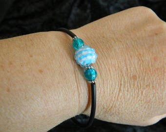 striped bracelet buna bead Kit blue truquoise valou