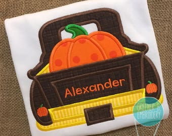 Thanksgiving Applique Shirt /  Pumpkin Applique Shirt / Truck Applique / Boy Thanksgiving Shirt / Personalized Halloween Shirt