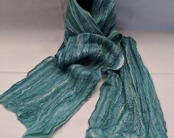 Shades of Green - Nuno Felted Cobweb Scarf - Handmade - Merino Wool & Silk