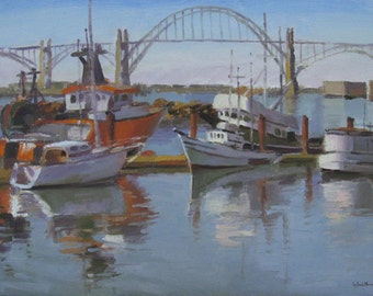 "Art boat painting Oregon coast ""Yaquina Bay Boats"" original oil by Sarah Sedwick 12x16"
