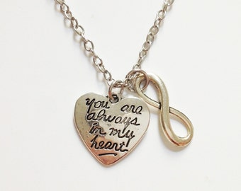 Love necklace  - infinity necklace - heart charm - you are always in my heart - gift - silver - friendshiap - brstf