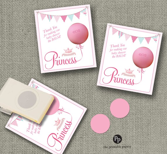 Baby Shower Gift Tags For EOS Lip Balm Gifts Princess Design