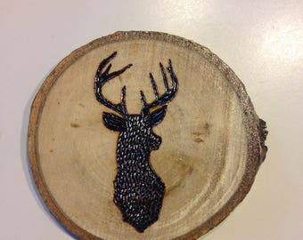Deer - Woodburned Coaster, Beer Coaster, Wood Coaster, Woodburning, Rustic, Custom, Cottage decor, Wood decor, Cabin decor