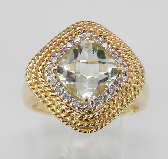 SALE Diamond and Cushion Cut Green Amethyst Halo Right Hand Ring 14K Yellow Gold Size 7