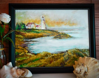 Lighthouse Watercolor Seashore Painting