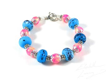 Shimmering Pink and Beautiful Blue Exquisite Bracelet