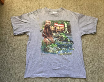 Men's Vintage 1998 Sof Tee Gray Budweiser King Of Beers Poor Froggies Graphic T Shirt Size Xl