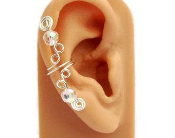Ear Cuff Small Silver Clear