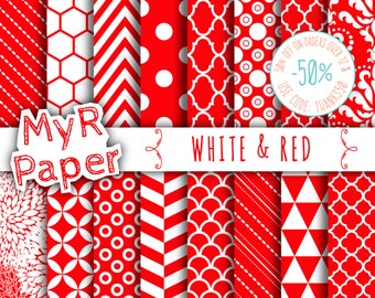 "SALE 50% Christmas Digital Paper: ""White & Red"" Digital Paper Pack and Backgrounds with Chevron, Damask, Triangles, Stripes and Polka Dots"
