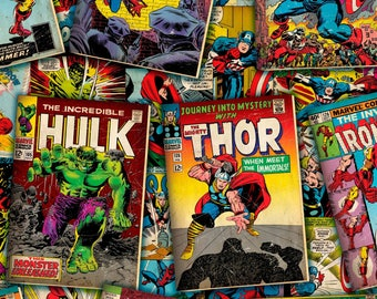 Marvel Comic Covers Fabric - Springs Creative SPR57572 A620715  - Priced by the 1/2 yard