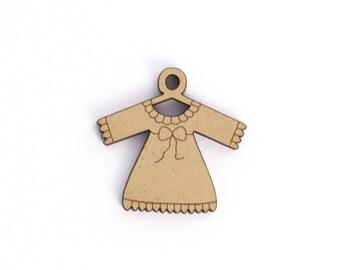 Garment girl beige wooden button