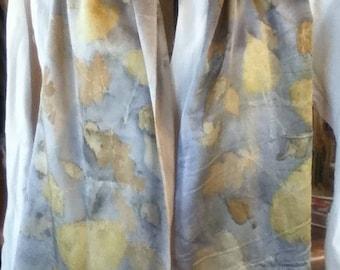 eco printed charmeuse silk scarf 14 x 72