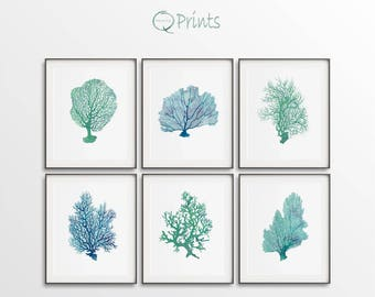Coral Prints, Set of 6 Sea Corals, Turquoise Blue, Printable Corals, Ocean Décor Art, DIY Wall Art, Large Wall Art, Sealife Digital Art