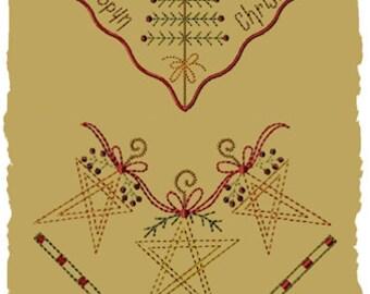 Primitive Machine Embroidery Design-Homespun Christmas Bread Cloth/Corner Design  (5 x 7)-2 Designs-INSTANT DOWNLOAD