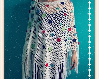 White Wedding Shawl,Hippie Wedding Poncho,Bride Cape,Wedding Stole,Wedding Wrap,Acrylic Yarn,One Size,Womens Clothes Colorful,Flowers,Fringe