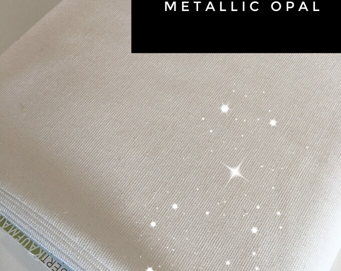 Rustic Wedding Fabric, Fabric for Linen Dress or Linen Bedding, Cotton Linen Blend, Iridescent Sparkle Fabric, Metallic Essex in Opal