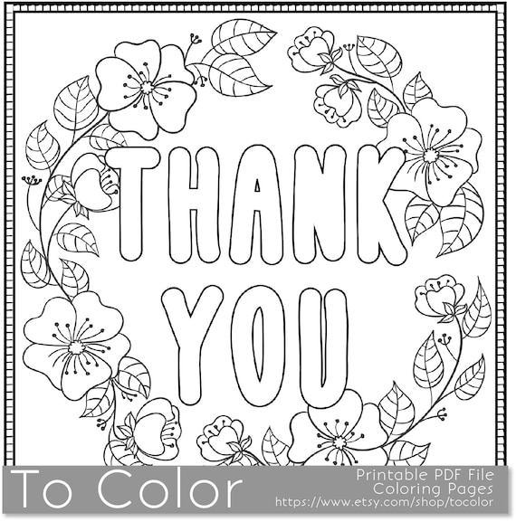 coloring pages thank you card - photo#5