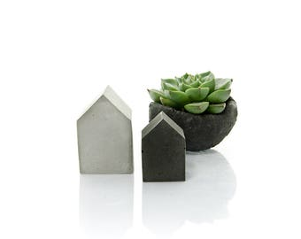 concrete house set of two small quirky beton cement house concrete decor modern