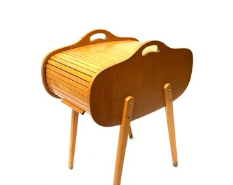 Mid-Century Danish Design Style Modern Sewing Cabinet 1950s wooden Roll Top Sewing Stand Box Cabinet