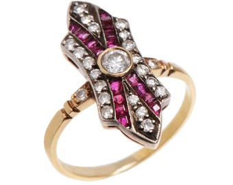 Art Deco 18 KT. Rosy Yellow Gold Ruby and Old Euro Diamond Ring